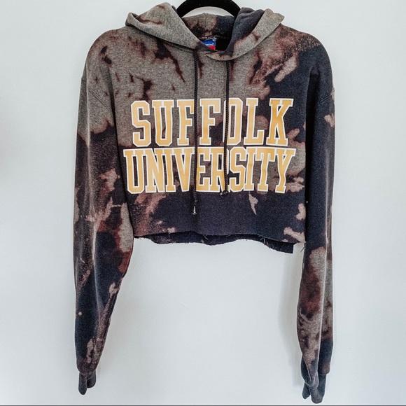 Champion Tops - Suffolk University Champion Tie Dye Crop Hoodie